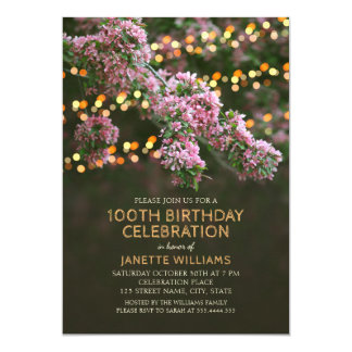 木の花は素朴な花柄の100th誕生日をつけます カード