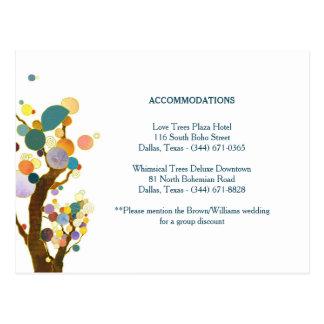 木の芸術のティール(緑がかった色)の結婚式の調節のエンクロージャ ポストカード