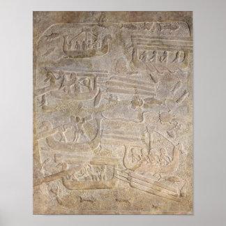 木の荷を下すことを描写するレリーフ、浮き彫り ポスター
