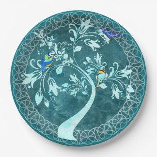 木の豪華な紙皿のターコイズの鳥 ペーパープレート