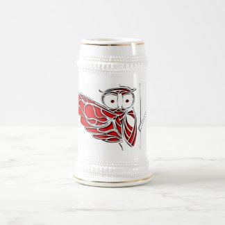 木の赤いフクロウ ビールジョッキ