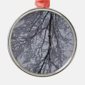 木の雪パターン メタルオーナメント