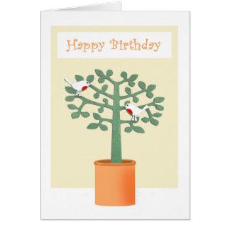 木の2羽の赤breasted鳥。誕生日おめでとう カード