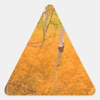 木の《植物》アスペンおよび風に吹かれた草アイダホ 三角形シール