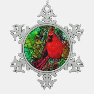 木の(鳥)ショウジョウコウカンチョウ スノーフレークピューターオーナメント