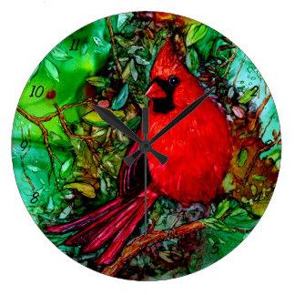 木の(鳥)ショウジョウコウカンチョウ ラージ壁時計