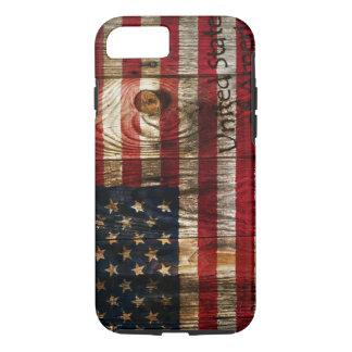 木のbordの米国旗 iPhone 8/7ケース