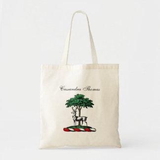木のHeraldic頂上の紋章によるシカの雄鹿 トートバッグ