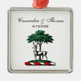木のHeraldic頂上の紋章によるシカの雄鹿 メタルオーナメント