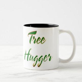 木のHuggerの緑 ツートーンマグカップ