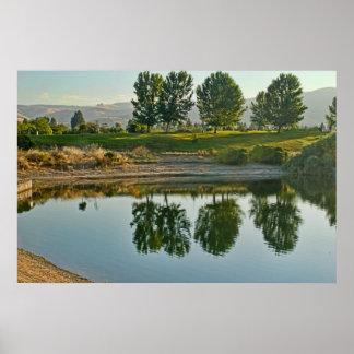 木のina湖、キャンバスのプリントの反射 ポスター