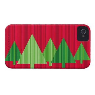木はクリスマスのブラックベリーの箱を縞で飾ります Case-Mate iPhone 4 ケース