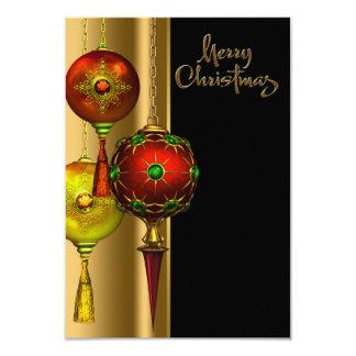 木は赤および金ゴールドのクリスマス・パーティを飾ります カード