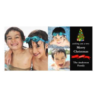 木またはリボン3の写真のクリスマス-写真カード カード
