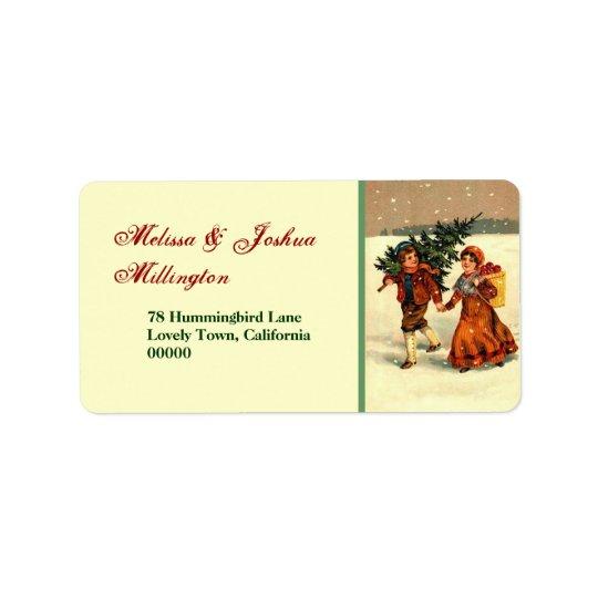 木を持つヴィンテージのクリスマスの子供 宛名ラベル