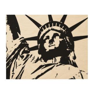 木キャンバス白黒のポップアートの自由の女神 ウッドウォールアート