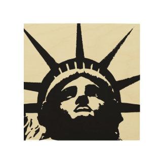 木キャンバス黒いベージュポップアートの自由の女神 ウッドウォールアート