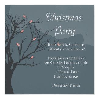 木クリスマスのパーティのBullfinches カード