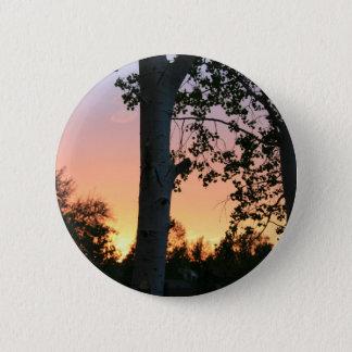 木ボタンの日没 5.7CM 丸型バッジ