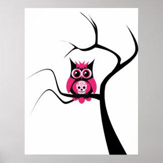 木ポスターのピンクの砂糖のスカルのフクロウ ポスター