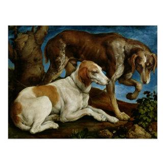 木切り株に結ばれる2人の猟犬c.1548-50 ポストカード