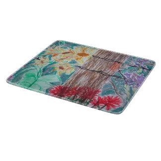 木及び野生の花のガラスまな板 カッティングボード