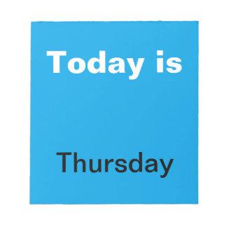 木曜日のノート視覚カレンダー用具の曜日 ノートパッド