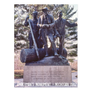 木材切出し人夫の記念碑のミシガン州の郵便はがき ポストカード