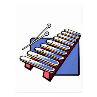 木槌が付いているおもちゃの木琴、青いグラフィック ポストカード