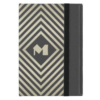 木炭およびベージュ色ダイヤモンドのモノグラム iPad MINI ケース