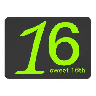 木炭およびライムのカスタムの第16誕生日の招待状 カード