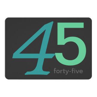 木炭および青のカスタムの第45誕生日の招待状 カード