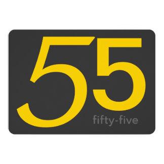 木炭および黄色のカスタムの第55誕生日の招待 カード