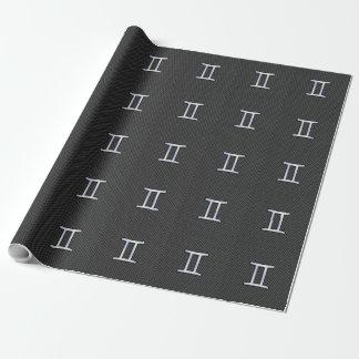 木炭カーボン繊維のプリントのジェミニ(占星術の)十二宮図の印 ラッピングペーパー
