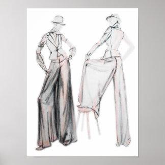 木炭戯曲ファッションの絵 プリント