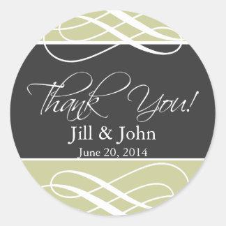 木炭暗灰色は好意のラベルの結婚感謝していしています ラウンドシール