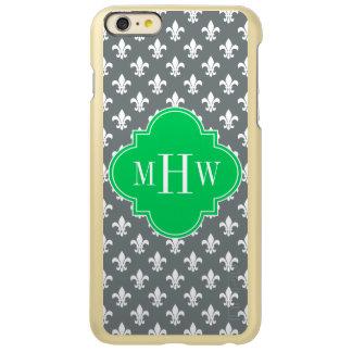 木炭白い(紋章の)フラ・ダ・リのエメラルド3のInitのモノグラム Incipio Feather Shine iPhone 6 Plusケース