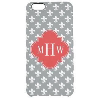 木炭白い(紋章の)フラ・ダ・リの赤3のInitのモノグラム クリア iPhone 6 Plusケース