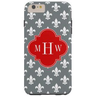 木炭白い(紋章の)フラ・ダ・リの赤3のInitのモノグラム Tough iPhone 6 Plus ケース