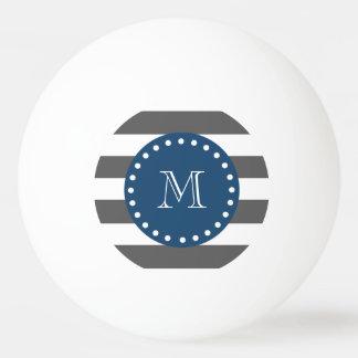 木炭白のストライプパターン、濃紺のモノグラム 卓球ボール