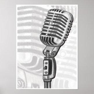 木炭芸術のプリントのヴィンテージのマイクロフォン ポスター