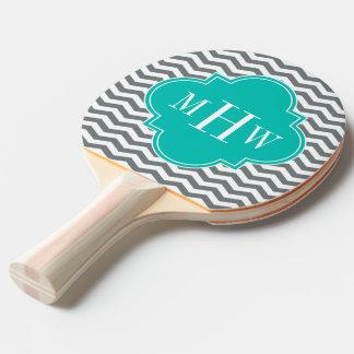 木炭薄いシェブロンのティール(緑がかった色)のクローバー3のモノグラム 卓球ラケット