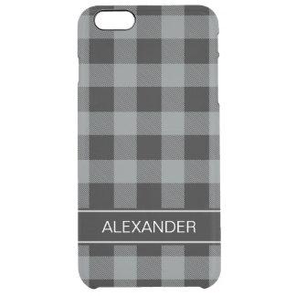 木炭黒いバッファローの点検の格子縞の名前のモノグラム クリア iPhone 6 PLUSケース