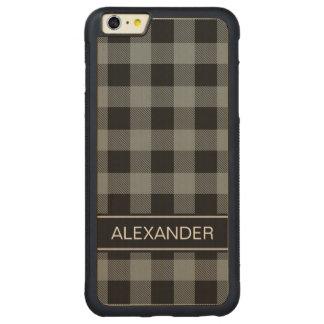 木炭黒いバッファローの点検の格子縞の名前のモノグラム CarvedメープルiPhone 6 PLUSバンパーケース