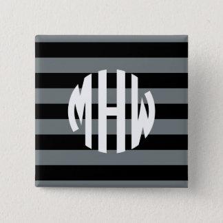 木炭黒いHorizのストライプな#1円のモノグラム 5.1cm 正方形バッジ