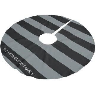木炭黒いHorizのプレッピーなストライプ#3のモノグラム ブラッシュドポリエステルツリースカート