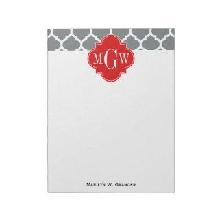 木炭、白いモトッコ人#5の赤3の最初のモノグラム ノートパッド