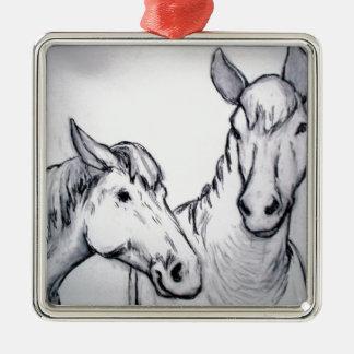 木炭、黒く及び白いスケッチの農場馬 メタルオーナメント