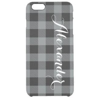 木炭Blkのバッファローの点検の格子縞の名前のモノグラムNL クリア iPhone 6 Plusケース