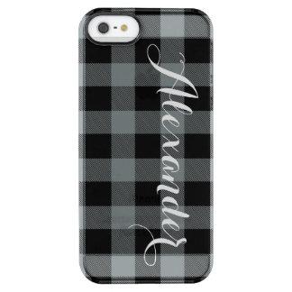 木炭Blkのバッファローの点検の格子縞の名前のモノグラムNL クリア iPhone SE/5/5sケース